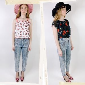 Vintage 80s Acid Wash Studded High Waisted Jeans